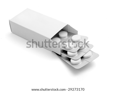 close up of package of tablets on white background with clipping path - stock photo