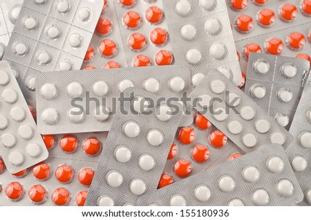 Close up of packs of pills  - stock photo