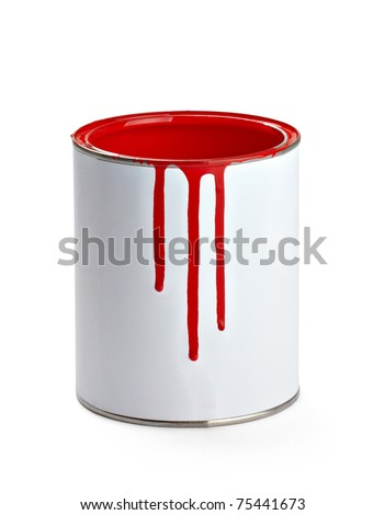 close up of paint container and brush  on white background with clipping path - stock photo