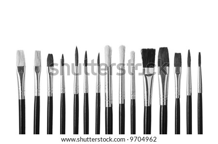 paint brushes photography black and white. closeup of paintbrushes isolated on white background paint brushes photography black and h