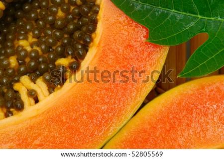 close up of  papaya fruit - stock photo