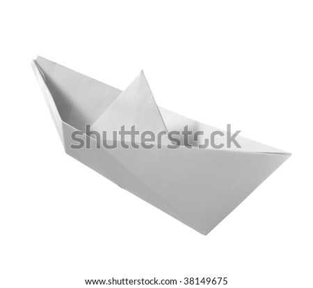 close up of paper boat on white background with clipping path