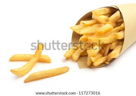 close up of paper cone with fries on white background - stock photo