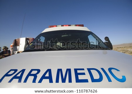 Close-up of 'PARAMEDIC' written on a car - stock photo