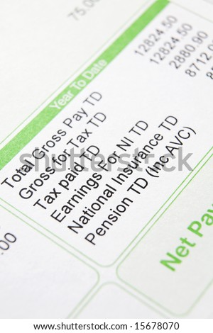 Close up of payslip showing deductions - stock photo
