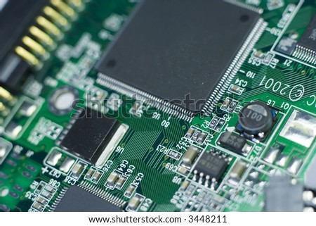 Close-up of PCB with short depth of field
