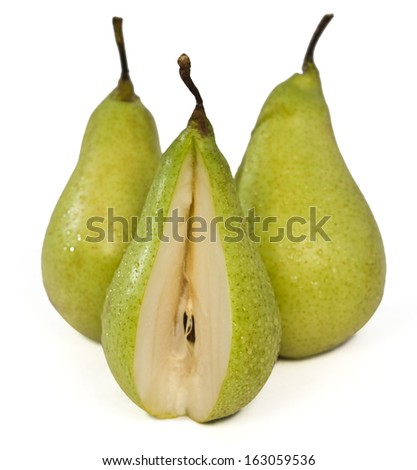 Close-up of pears with missing bite