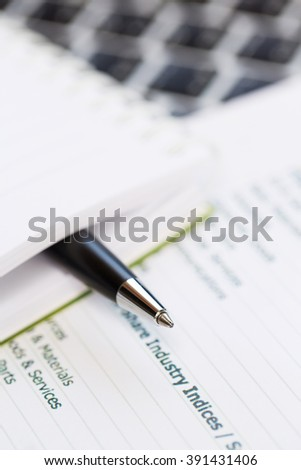 Close up of Pen and Notebook