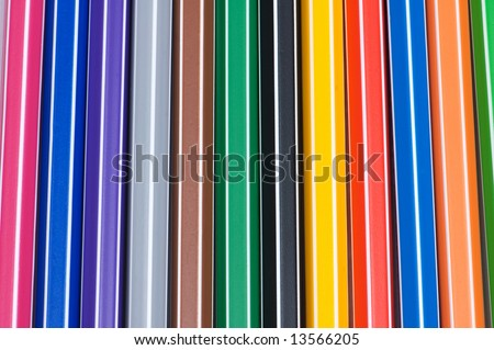 Close up of pencils of various bright colours