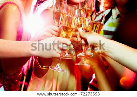 Close-up of people making good cheer - stock photo