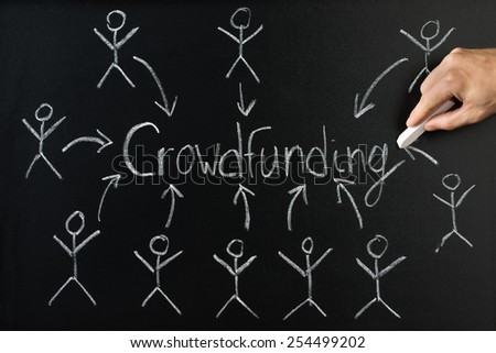 Close-up Of Person Drawing Arrow Direction With Crowd Funding Text On Blackboard - stock photo