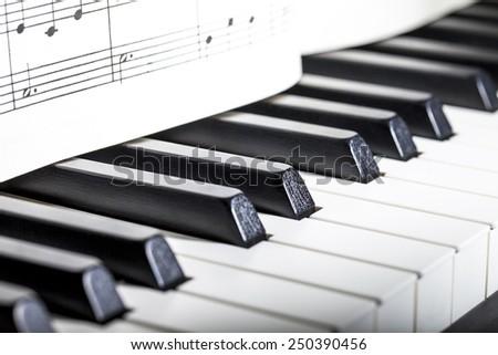 close-up of piano keys. close frontal view - stock photo