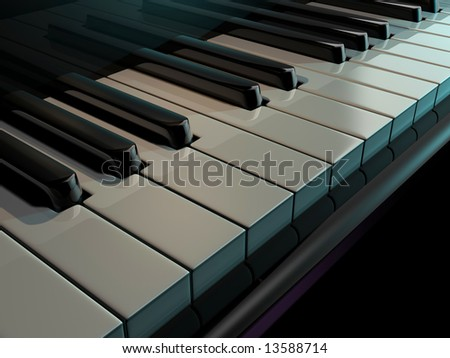 Close up of piano keys - rendered in 3d