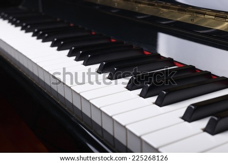 Close up of Piano keys, selective focus with shallow depth of field. - stock photo