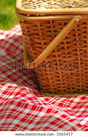 close-up of picnic basket - stock photo
