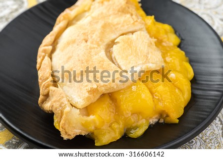 Close up of piece of fresh baked peach pie.