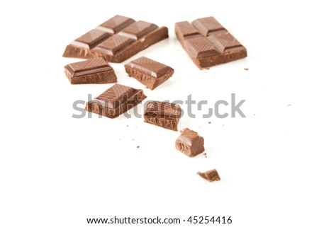 Close up of pieces of dark bitter chocolate isolated on white background