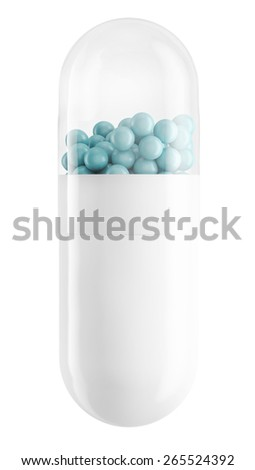 Close up of pill capsule with blue granules isolated on white, 3d illustration - stock photo