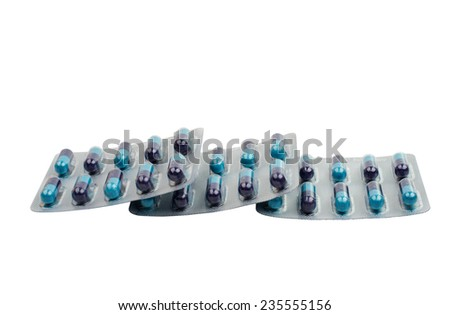 close up of pill package on white background  - stock photo
