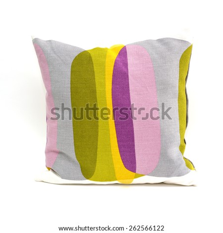 Close up of pillow isolated on white background, selective focus.  - stock photo