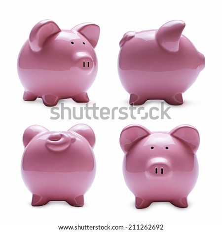Close-up of pink porcelain piggy banks in four different positions as front, rear, side and perspective, with shadow on white - stock photo