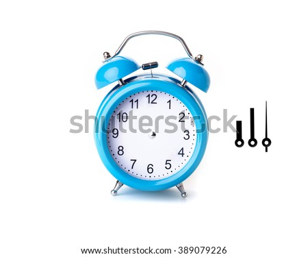 Close-up of Pink Table Alarm Clock on White Background  - stock photo