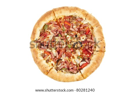 Close up of pizza isolated over white