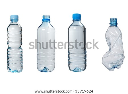 close up of plastic bottle on white background. each one is in the full camera resolution