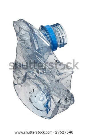 close up of plastic bottle on white background with clipping path