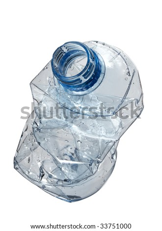 close up of plastic bottle on white background with clipping path - stock photo