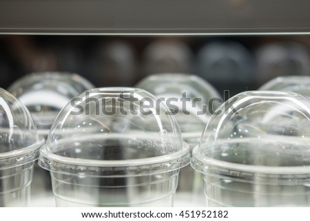 Close up of plastic dome lid for takeaway plastic cup - stock photo