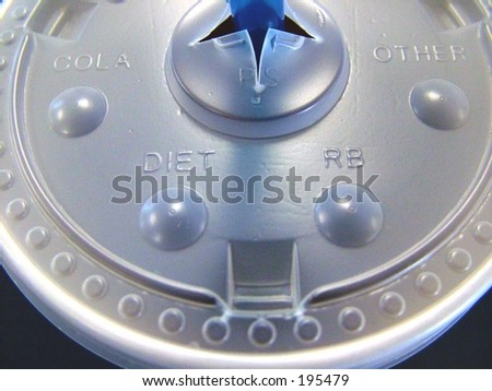 Close up of plastic lid on soft drink - stock photo