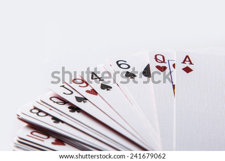 Close up of playing cards - stock photo