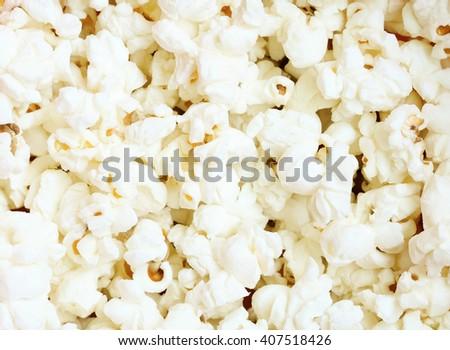Close up of popcorn. Popcorn texture background - stock photo