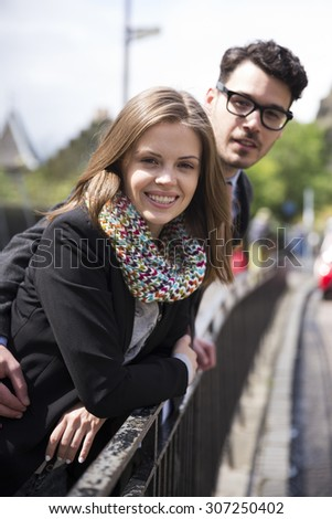 Close-up of portrait of a young romantic couple.  - stock photo