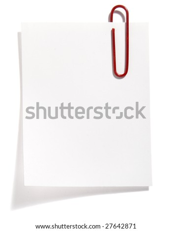 close up of post it reminder on white background with clipping path - stock photo