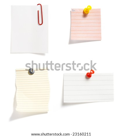 "close up of ""post it"" reminders on white background . each one is in cameras full resolution"