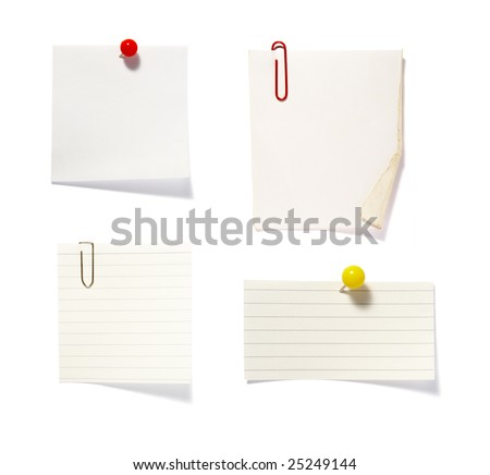 """close up of """"post it"""" reminders on white background . each one is in cameras full resolution - stock photo"""