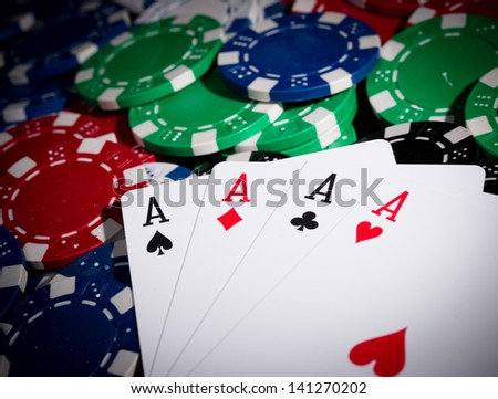 Close-up of professional poker table - stock photo
