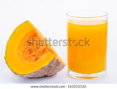 close up of pumpkin juice with white background