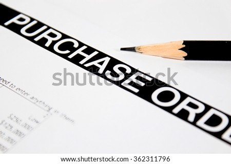Close up of purchase order form with pencil / selective focus