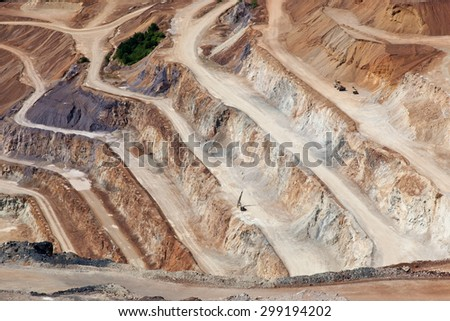 close up of quarry extracting iron ore - stock photo