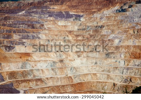 Close up of quarry extracting  ore - stock photo
