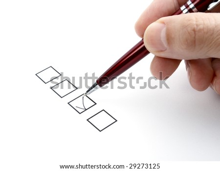 close up of questionnaire test - stock photo