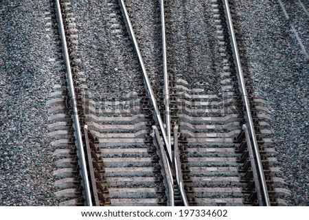 Close up of railway tracks with crossing