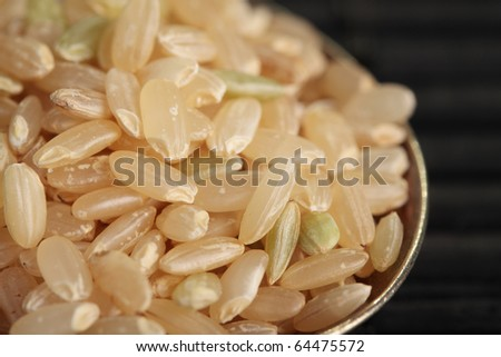 Close-up of raw brown rice on a spoon. - stock photo