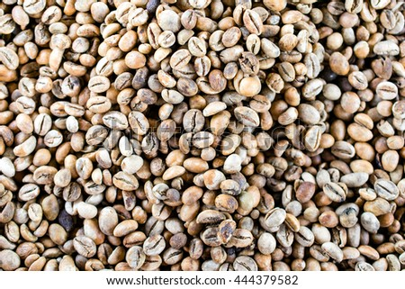 Close up of  Raw Coffee Beans texture background.