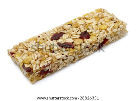 close up of ready to use muesli bar on white background with clipping path - stock photo