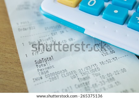 Close up of receipt paper, focus text cash, payment - stock photo