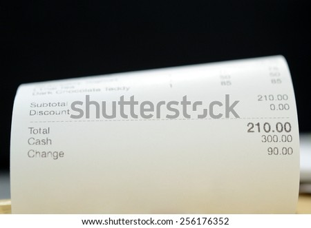 Close up of receipt paper from a restaurant - stock photo